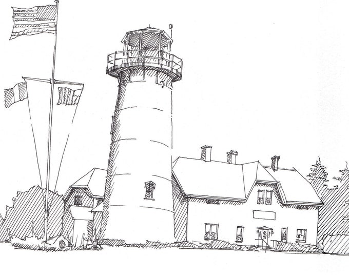CHATHAM POINT LIGHTHOUSE - Cape Cod, Massachusetts, East Coast, New England, Ink, Drawing, Sketchbook, Art, Drawn There