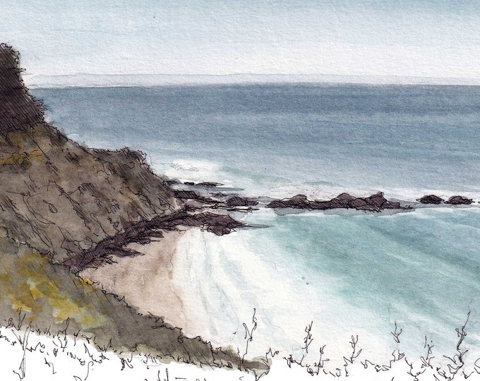 BIG SUR COASTLINE - Mountains, Ocean, Road Trip, pch, California, Drawing, Watercolor Painting, Landscape, Sketchbook, Art, Drawn There