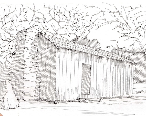 MARK TWAIN CABIN - Pen and Ink, Line Drawing, Art, Print, Architecture, Rustic, California, Wilderness, History, Drawn There
