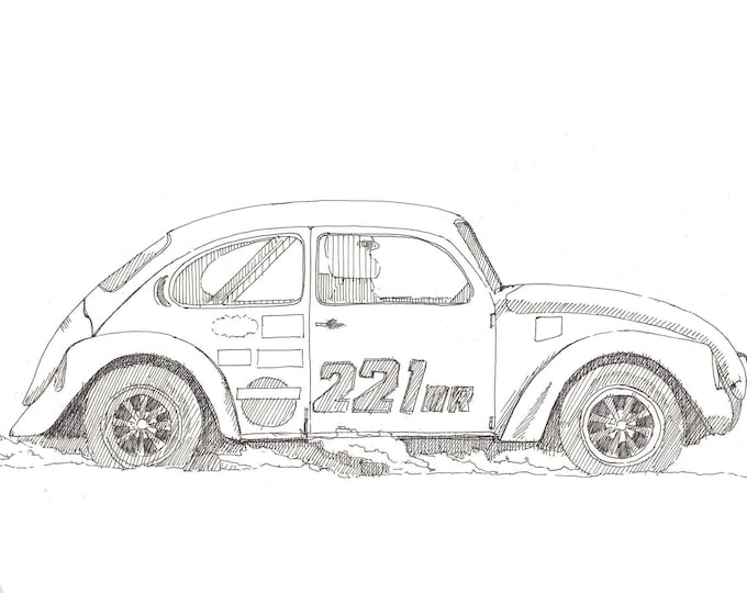 SUPER BEETLE - Classic Car, Volkswagen, VW, Racing, Drawing, Pen and Ink, Sketchbook, Art, Drawn There