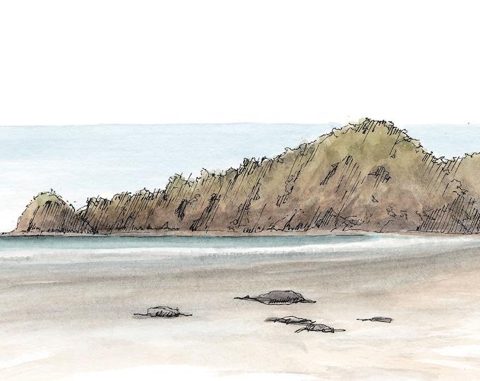 TROPICAL BEACH at low tide, Punta Islita, Costa Rica - Ink and Watercolor, Tropical, Drawing, Art Print, Sketchbook, Ocean, Drawn There
