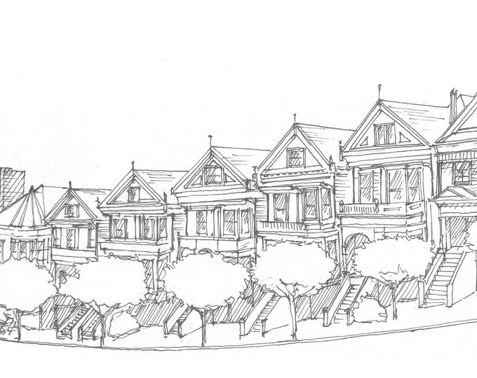 PAINTED LADIES - Victorian Houses, Architecture, San Francisco, Full House, Drawing, Pen and Ink, Sketchbook, Art, Drawn There