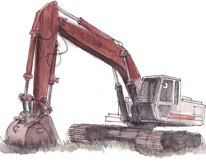 LINKBELT EXCAVATOR - Heavy Equipment Operator, Construction, Plein Air Ink and Watercolor Painting, Drawing, Art Print, Drawn There