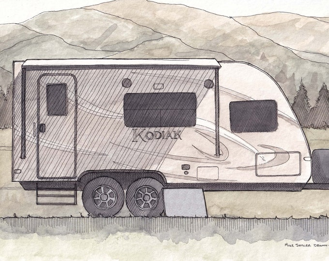 DUTCHMEN TRAVEL TRAILER - Camper, Camping, Roadtrip, rv, Mountains, Drawing, Sketchbook, Pen and Ink, Adventure, Art, Drawn There