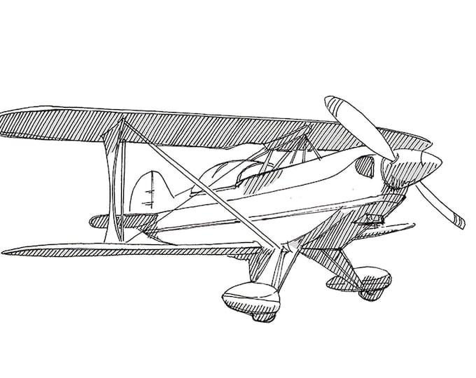 PITS AEROBATIC BIPLANE - Airplane,  Plane, Fly, Travel, Flight, Ink Drawing, Line Drawing, Art, Print, Drawn There