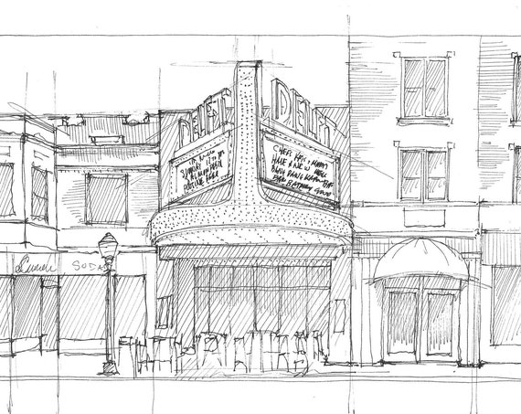 DELFT THEATER BISTRO - Marquette Michigan, Marquee, Architecture, Ink Line Drawing Sketch, Urbansketcher Art, Drawn There