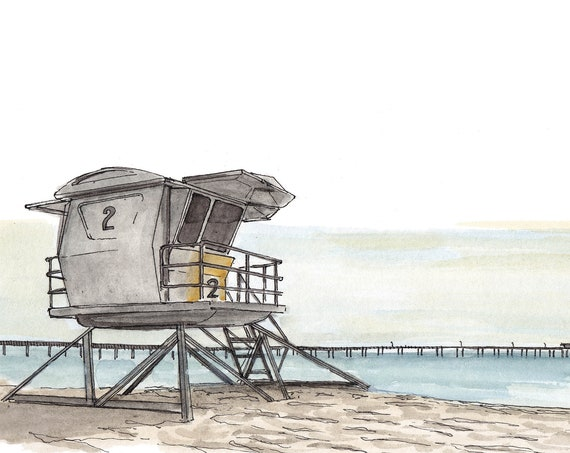LIFEGUARD STAND - Ocean Beach, San Diego, California, Architecture, Pier, Art, Watercolor, Painting, Drawing, Sketchbook, Drawn There
