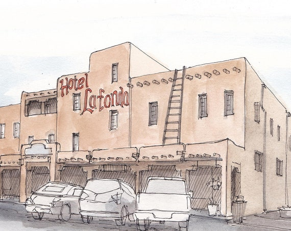 HOTEL LA FONDA - Taos, New Mexico, Adobe, Architecture, Southwest, Drawing, Watercolor Painting, Sketchbook, Art, Drawn There