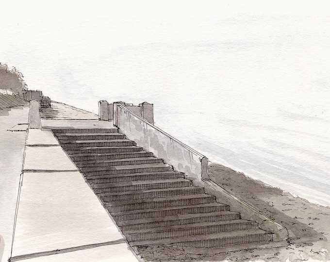 ALKI BEACH STAIRS - West Seattle, Puget Sound, Sea Wall Steps, Drawing, Plein Air Watercolor Painting, Sketchbook, Art, Drawn There