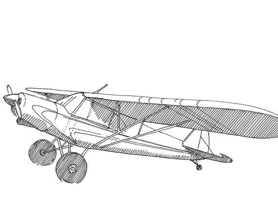 PIPER SUPER CUB Airplane - Plane, Fly, Travel, Flight, Ink Drawing, Line Drawing, Art, Print, Drawn There
