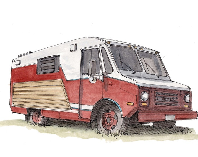CLASSIC STEP VAN - Vanlife, Tiny House, Red, White, Truck, Conversion, diy, Ink and Watercolor, Painting, Drawing, Art Print, Drawn There