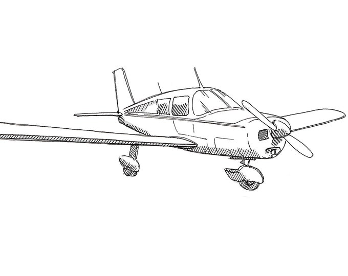 PIPER CHEROKEE AIRPLANE - Plane, Fly, Travel, Flight, Ink Drawing, Line Drawing, Art, Print, Drawn There