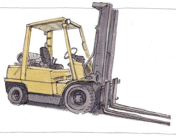 YELLOW FORKLIFT - Loading Dock, Operator, Cargo, Freight, Shipping, Drawing, Ink and Watercolor Painting, Sketchbook, Art, Drawn There