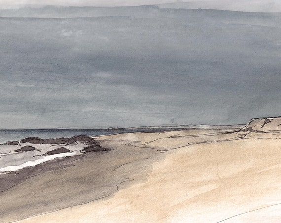 BEACH and STORM CLOUDS - Cabo San Lucas, Mexico, Ocean, Landscape Painting, Watercolor, Drawing, Sketchbook, Art, Print, Drawn There