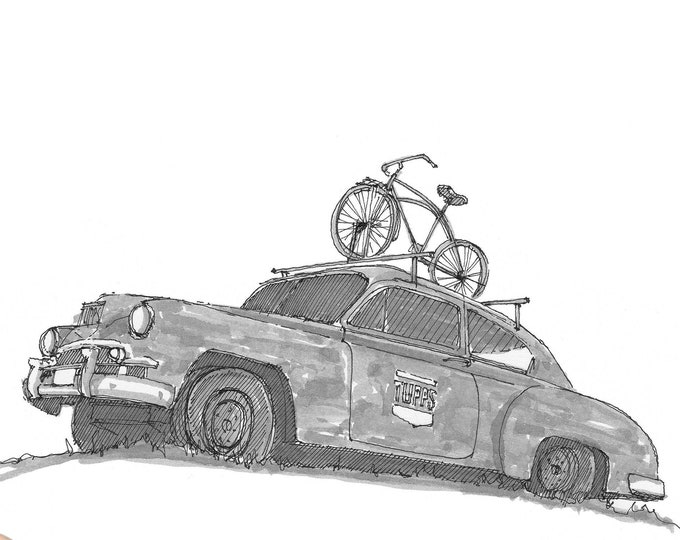 OLD RUSTY CAR with bike on roof - Tupps Brewery, Vintage, Classic, Bicycle, Drawing, Pen and Ink, Sketchbook, Art, Drawn There