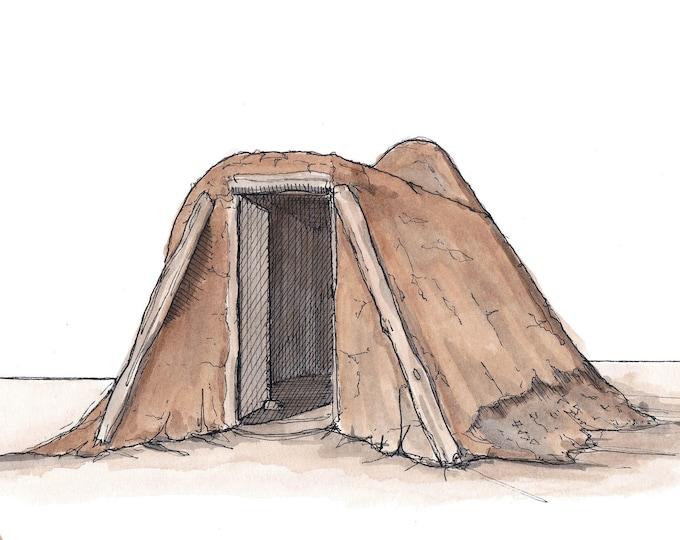 NAVAJO HOGAN Mud Hut- Native American, Tribal,Traditional, Ceremonial, Arizona, Art, Pen and Ink, Drawing, Painting, Sketchbook, Drawn There
