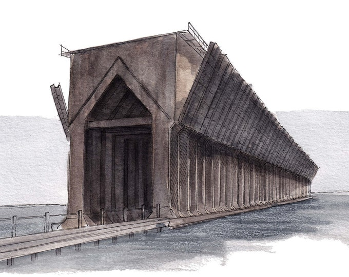 MARQUETTE ORE DOCK - Michigan, Iron Ore, Great Lakes, Urbansketcher, Plein Air Ink and Watercolor Painting, Drawing, Art, Drawn There