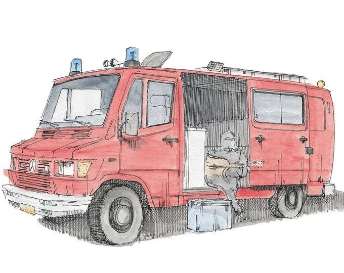 VINTAGE MERCEDES VAN - German Fire Dept., Camper, Vanlife, Red, Drawing, Pen and Ink, Painting, Watercolor, Art, Sketchbook, Drawn There