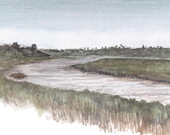 NEWPORT BACK BAY - Estuary, Wetlands, California, Plein Air Landscape Watercolor Painting, Drawing, Sketchbook, Art Print, Drawn There