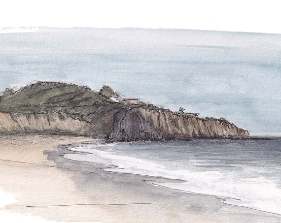 CRYSTAL COVE State Park - Beach, Ocean, Cliffs, Abalone Point, Landscape, Plein Air Watercolor Painting, Sketchbook, Art Print, Drawn There