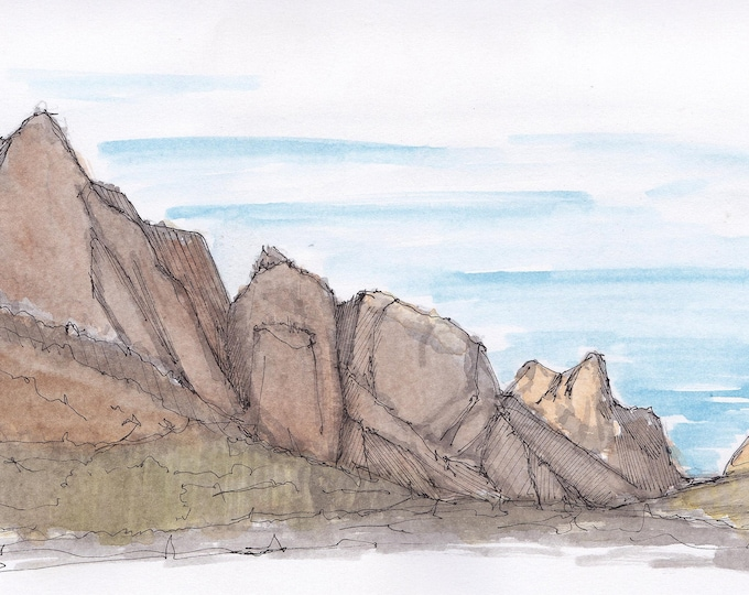 WINDOW TRAIL LANDSCAPE in Big Bend National Park, Texas - Ink and watercolor, Drawing, Painting, Art, Sketchbook, Plein Air, Drawn There