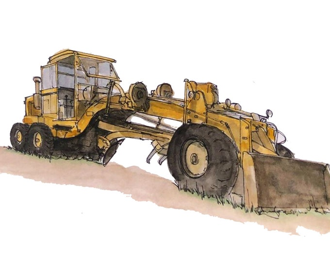 CATERPILLAR ROAD GRADER - Heavy Equipment, Excavator, Tractor, Bulldozer, Drawing, Watercolor, Painting, Sketchbook, Art, Print, Drawn There