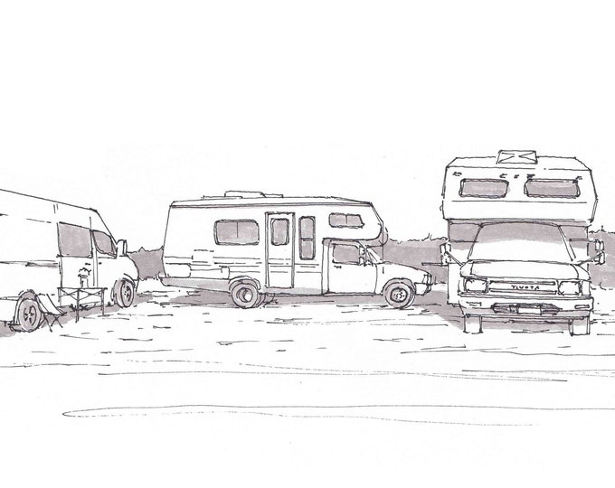 CAMPER VAN and RVs - Beach Camping, Vanlife, Sprinter, Toyota, Drawing, Pen and Ink, Sketchbook, VanThere, Slowcarfasthome, Drawn There