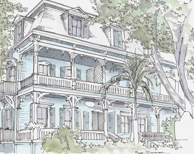 KEY WEST HOUSE - Florida, Victorian, Pastel, Architecture, Drawing, Pen and Ink, Watercolor, Painting, Sketchbook, Art, Drawn There