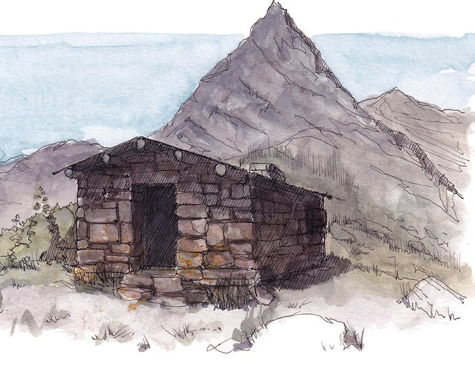 GLACIER NATIONAL PARK - Gunsight Pass Trail Shelter, Mountain, Hiking, Architecture, Ink and Watercolor Plein Air Painting, Art, Drawn There