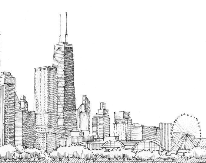 CHICAGO SKYLINE - Architecture, City, Lake Michigan, Willis Tower, Sears Tower, Art, Pen and Ink, Drawing, Sketchbook, Drawn There