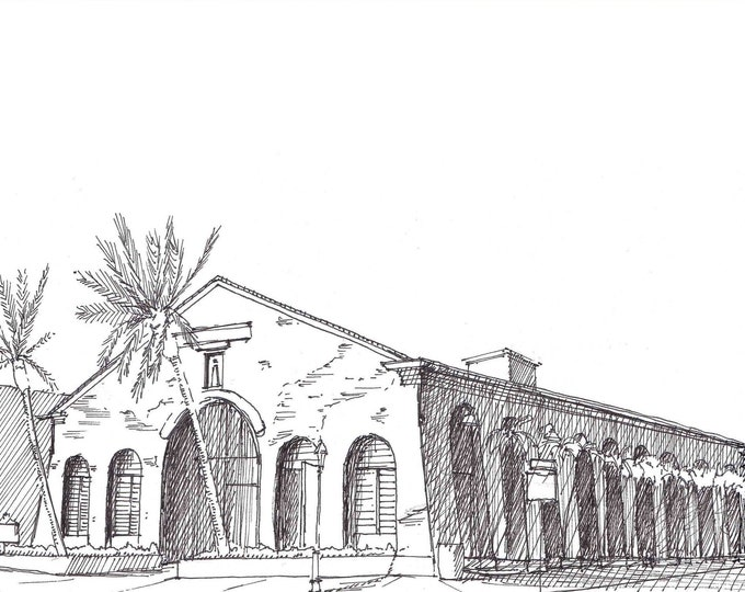 COAST GUARD BUILDING - Key West, Florida, Historic, Palm Tree, Island Life, Architecture, Drawing, Pen and Ink, Sketchbook, Art, Drawn There