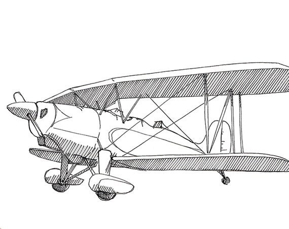 GREAT LAKES BIPLANE - Stunt Plane, Airplane,  Fly, Travel, Flight, Ink Drawing, Line Drawing, Art, Print, Drawn There
