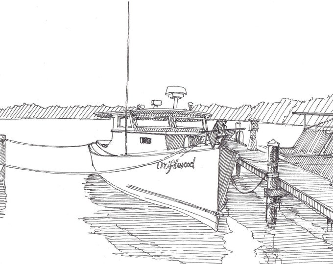 CHESAPEAKE DEADRISE BOAT - Wooden Deadrise, Maryland, Eastern Shore, Bay, Ink Drawing, Sketch, Pen and Ink, Drawing, Sketchbook, Drawn There