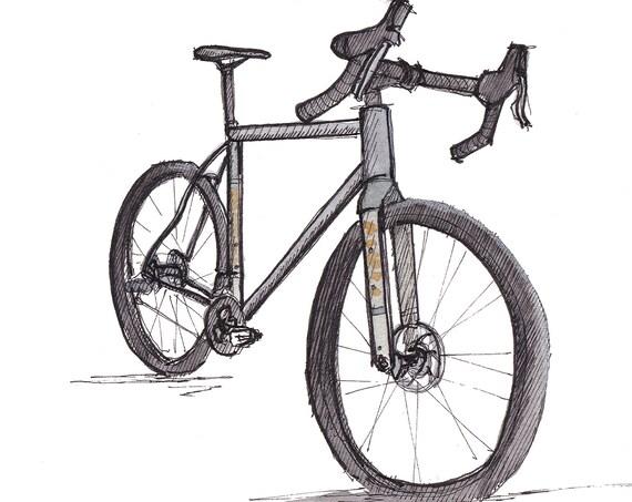 NINER RLT BIKE - Gravel Bike, Bike Shop, Cycling, Bicycle, Road Bike, Watercolor Painting, Drawing, Sketchbook Art Print, Drawn There