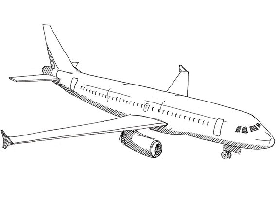 AIRBUS A320 AIRPLANE - Jet, Commercial Airliner, Fly, Travel, Flight, Ink Drawing, Line Drawing, Art, Print, Black and White, Drawn There