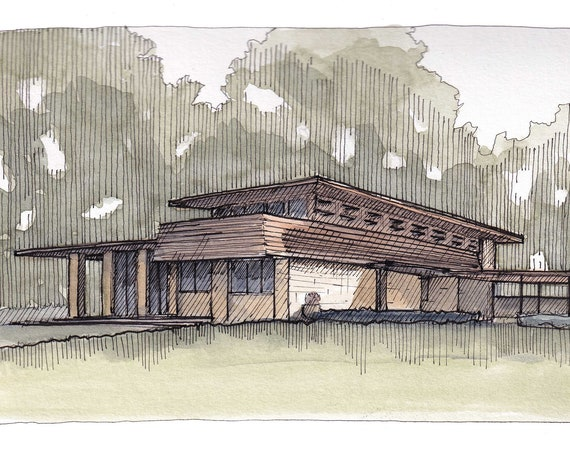 GORDON HOUSE Frank Lloyd Wright - Salem, Oregon, PNW, Architecture, Mid Century, Ink and Watercolor Painting, Sketchbook, Art, Drawn There
