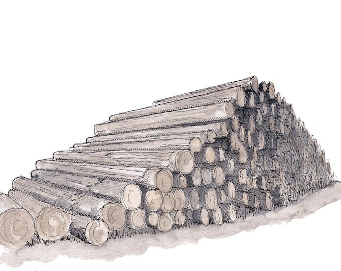 STACKED LOGS near Big Bear Lake - Lumber, Lumberjack, Forestry, Trees, Wood, Watercolor Painting, Drawing, Sketchbook Art, Drawn There