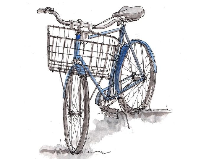 VINTAGE BLUE BIKE -  Bicycle, Bike Basket, Ride, Classic, Drawing, Watercolor Painting, Sketchbook, Art, Drawn There