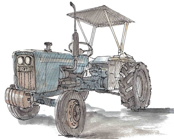 OLD FORD TRACTOR - Pen and Ink, Drawing, Painting, Watercolor, Sketchbook, Art, Farm, Vintage, Antique, Blue, Rusty, Drawn There