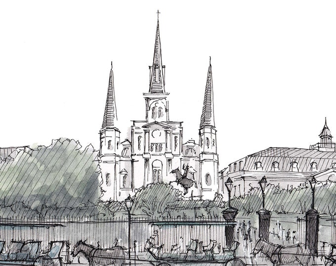 SAINT LOUIS CATHEDRAL - New Orleans, Louisiana, Drawing, Art, Sketch, Painting, Watercolor, Architecture, Sketchbook, Drawn There