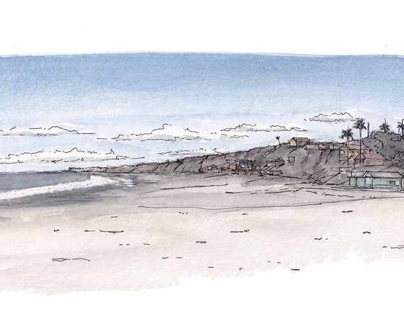 CRYSTAL COVE BEACH - Newport Beach, Orange County, California, Cottages, Ocean, Ink, Watercolor, Plein Air Painting, Art, Print, Drawn There
