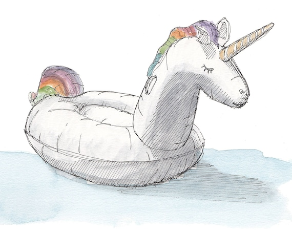 RAINBOW UNICORN FLOATIE - Inflatable, Toy, Party, Summer, Floaty, Pen and Ink, Drawing, Watercolor, Painting, Sketchbook, Art, Drawn There