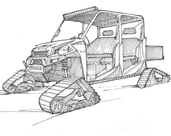 SIDE BY SIDE with snow tracks, Polaris - rzr, Winter, Snow, Ski Patrol, Pen and Ink, Drawing, Sketchbook, Drawn There, Line Drawing