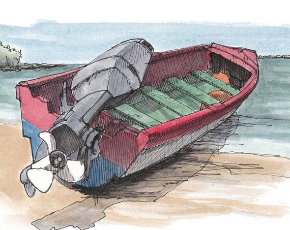 CARIBBEAN BOAT - Island Life, Wooden Boat, Red, White, Blue, Beach, Jamaica, Ink and Watercolor, Drawing, Painting, Sketchbook, Drawn There