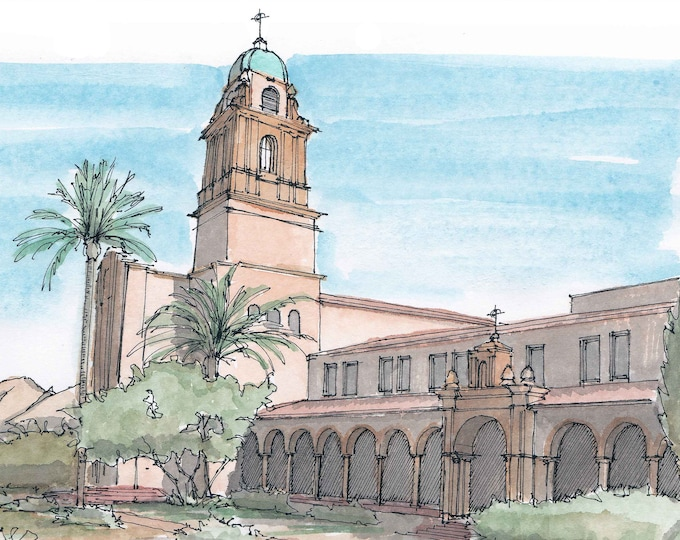 BENEDICTINE MONASTERY in Tuscon Arizona - Catholic Church, Mission, Architecture, Pen and Ink, Watercolor, Drawing, Sketchbook, Drawn There