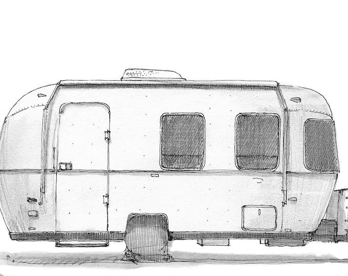 AIRSTREAM SPORT 22 - Camper, Roadtrip, Trailer, Camper, RV, Drawing, Sketchbook, Pen and Ink, Adventure, Art, Drawn There