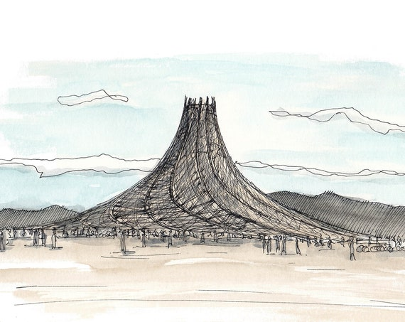 BLACK ROCK CITY - Temple, Ink and Watercolor, Drawing, Painting, Sketchbook, Architecture, Art, Print, Drawn There