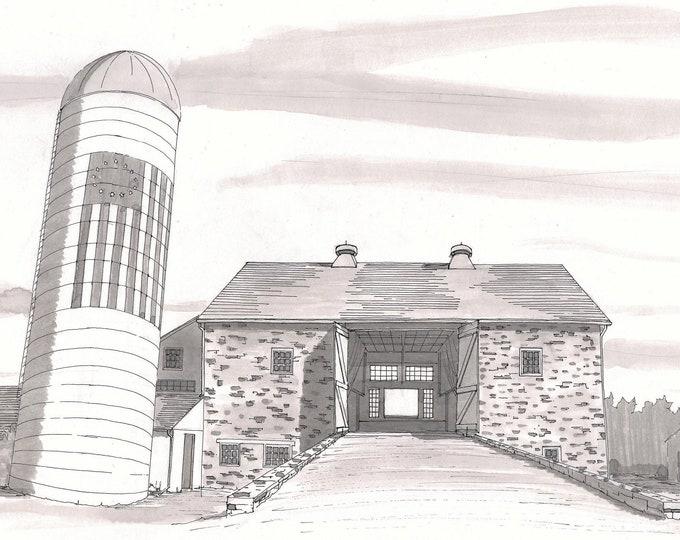 PENNSYLVANIA BANK BARN - Farming, Silo, Wedding Venue, Stone Architecture, Hay Loft, Drawing, Pen and Ink, Drawn There