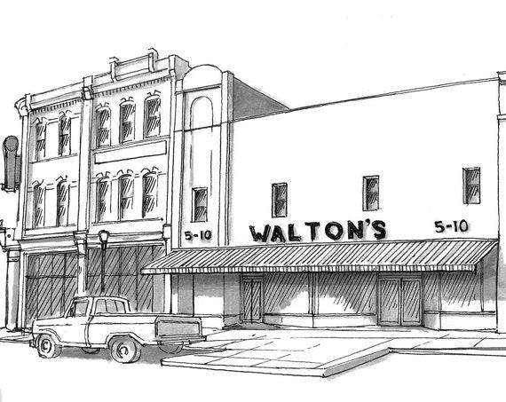 WALTONS 5 AND 10 - Original Walmart, Bentonville, Arkansas, Drawing, Architecture, Pen and Ink, Sketchbook, Art, Print, Drawn There