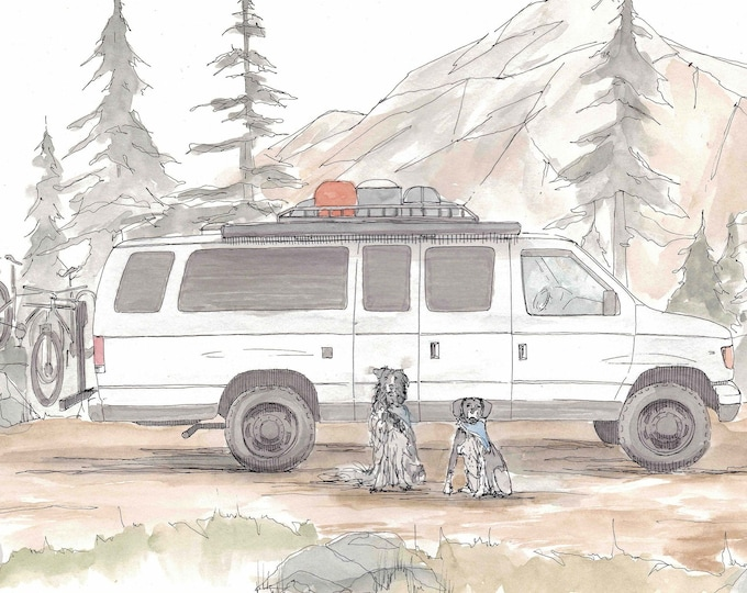 FORD ECONOLINE CAMPERVAN - Vanlife, Custom, Camper, Travel, Dogs, Mountains, Drawing, Pen and Ink, Painting, Watercolor, Art, Drawn There